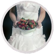 Strawberries Round Beach Towel by Joana Kruse