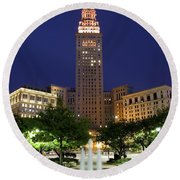 Terminal Tower Part Two Round Beach Towel by Frozen in Time Fine Art Photography