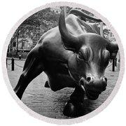 The Wall Street Bull Round Beach Towel by Pixabay