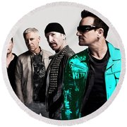 U2 Round Beach Towel by Marvin Blaine