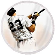 23   Don Mattingly  Round Beach Towel by Iconic Images Art Gallery David Pucciarelli