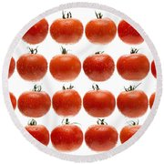 24 Tomatoes Round Beach Towel by Steve Gadomski