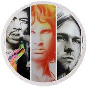 Jimi Hendrix, Kurt Cobain, And Amy Winehouse Collage - '27 Eternal' Round Beach Towel by Christian Chapman Art