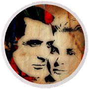 Cary Grant And Grace Kelly Collection Round Beach Towel by Marvin Blaine