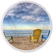 3 Chairs Round Beach Towel by Scott Norris