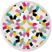 Geometric  Round Beach Towel by Mark Ashkenazi