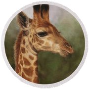 Giraffe Round Beach Towel by David Stribbling