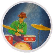 Jazz Drummer Round Beach Towel by Pamela Allegretto