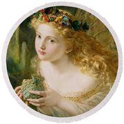 Take The Fair Face Of Woman Round Beach Towel by Sophie Anderson