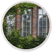 3 Windows And Ivy Round Beach Towel by John McGraw
