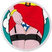 Wonder Woman  Round Beach Towel by Mark Ashkenazi