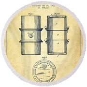 Oil Drum Patent Drawing From 1905 Round Beach Towel by Aged Pixel