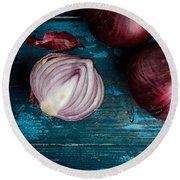 Red Onions Round Beach Towel by Nailia Schwarz