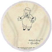 Disney Pig Patent Round Beach Towel by Marlene Watson