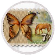 7 Cent Butterfly Stamp Round Beach Towel by Amy Kirkpatrick