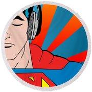 Superman  Round Beach Towel by Mark Ashkenazi