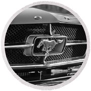 1965 Shelby Prototype Ford Mustang Grille Emblem Round Beach Towel by Jill Reger