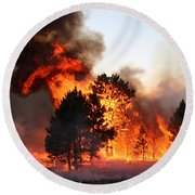 Round Beach Towel featuring the photograph A Burst Of Flames From The White Draw Fire by Bill Gabbert