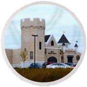 A Cheese Castle Round Beach Towel by Kay Novy