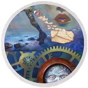 A Clockwerk Moone Is A Harsh Mistress Round Beach Towel by Patrick Anthony Pierson