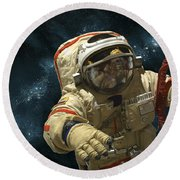 A Cosmonaut Against A Background Round Beach Towel by Marc Ward