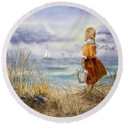 A Girl And The Ocean Round Beach Towel by Irina Sztukowski