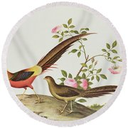A Golden Pheasant Round Beach Towel by Chinese School