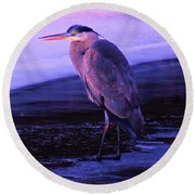 A Heron On The Moyie River Round Beach Towel by Jeff Swan