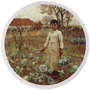 A Hinds Daughter, 1883 Oil On Canvas Round Beach Towel by Sir James Guthrie