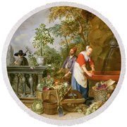 A Maid Washing Carrots At A Fountain Round Beach Towel by Nicolaas or Nicolaes Muys
