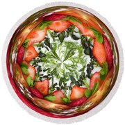 A Round Of Fresh Fruit Salad Round Beach Towel by Anne Gilbert