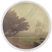 A Walk In The Fog Round Beach Towel by Laurie Search