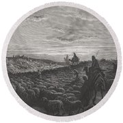 Abraham Journeying Into The Land Of Canaan Round Beach Towel by Gustave Dore