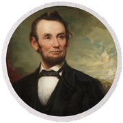 Abraham Lincoln  Round Beach Towel by George Henry Story