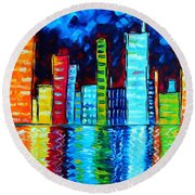 Abstract Art Landscape City Cityscape Textured Painting City Nights II By Madart Round Beach Towel by Megan Duncanson