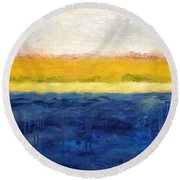 Abstract Dunes With Blue And Gold Round Beach Towel by Michelle Calkins