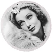 Actress Loretta Young Round Beach Towel by Underwood Archives