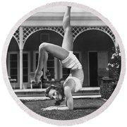 Actress Vera Zorina Exercising Round Beach Towel by Underwood Archives