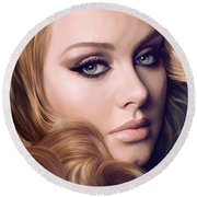 Adele Artwork  Round Beach Towel by Sheraz A