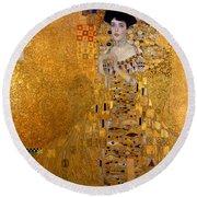 Adele Bloch Bauers Portrait Round Beach Towel by Gustive Klimt
