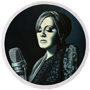 Adele Skyfall Painting Round Beach Towel by Paul Meijering