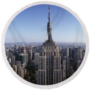 Aerial View Of A Cityscape, Empire Round Beach Towel by Panoramic Images