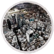 Aerial View Of London 3 Round Beach Towel by Mark Rogan