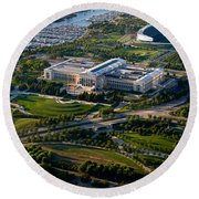 Aerial View Of The Field Museum Round Beach Towel by Panoramic Images
