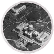 Aerial View Of U.s. Capitol Round Beach Towel by Underwood Archives