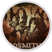 Aerosmith - Back In The Saddle Round Beach Towel by Absinthe Art By Michelle LeAnn Scott