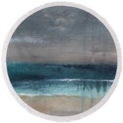 After The Storm- Abstract Beach Landscape Round Beach Towel by Linda Woods