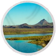 Alamo Lake Round Beach Towel by Robert Bales