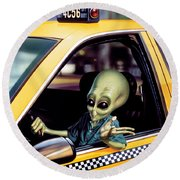 Alien Cab Round Beach Towel by Steve Read