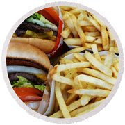 All American Cheeseburgers And Fries Round Beach Towel by Methune Hively